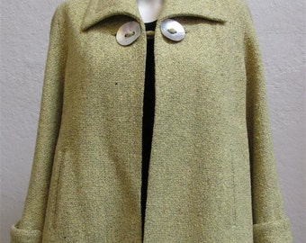 Sale Price! 1940's Mustard Yellow Swing Jacket With Abalone Shell Buttons - Size: Small to Medium