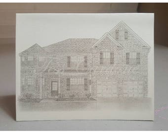 Set of 50 Custom House Notecards  + 8 in. x 10 in. Original House Drawing