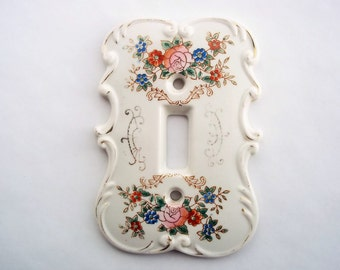 floral decorative light switch plate ornate scroll white ceramic switchplate romantic cottage chic girls - Decorative Switch Plates