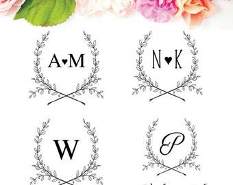 Wedding Favor Logo - Monogram Wedding Stamp - Custom Wedding Logo - Summer Wedding Logo Design - Rustic Wedding Logo Stamp-Couples Monogram