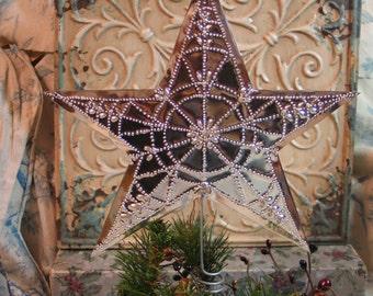 "Christmas Star Tree Topper,Shiny Bright Handmad Beautifully Pierced ORIGINAL Artist Design ""Lacy Threaded Christmas Berry"" Copyright."