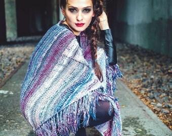 shawl - festival shawl - boho - gift for her - fringe shawl - unique shawl - bohemian - knit shawl - handmade - triangle shawl - shawl wrap