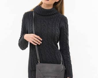 Grey leather clutch bag, Grey leather small bag, Grey leather Cross body bag, Grey leather evening bag, Grey clutch bag