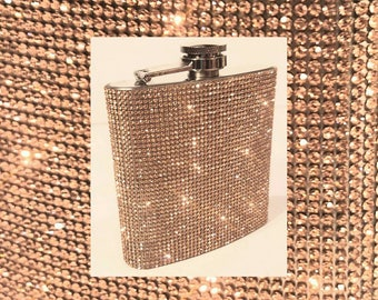 Rose Gold Wedding / Party Hip Flask Crystal Bling Rhinestone Stainless Steel 6oz Whisky Vodka Flask w/ Matching Funnel