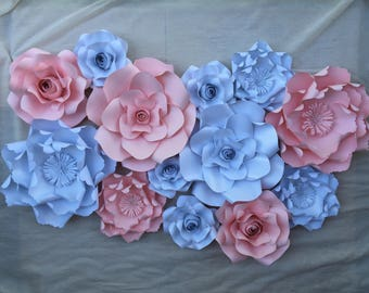 Nursery baby bridal shower birthday party wedding home decor paper rose flower backdrop wall art