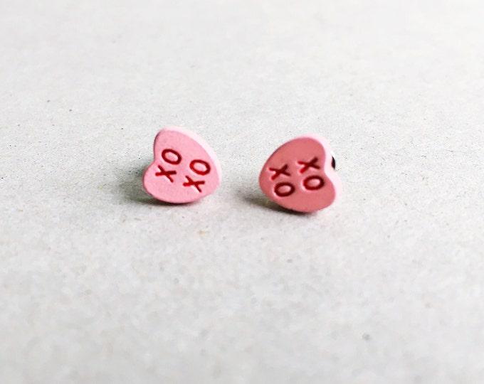 XOXO vintage typographic earrings