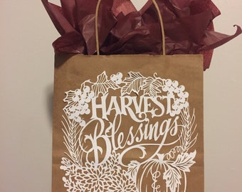 Harvest Blessings Brown Kraft Paper Gift Bag