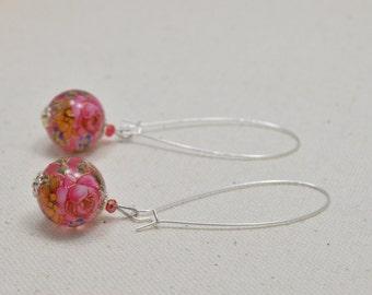 Clear pink / pink rose tensha bead earrings