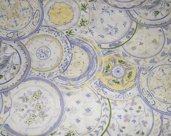 BTY Lavender & Yellow on White DINNER PLATES Print 100% Cotton Quilt Crafting Fabric by the Yard