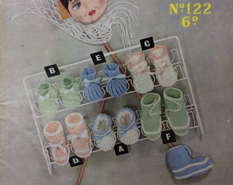 Vintage knitting pattern Sirdar sunshine 122 1950's baby bootees