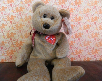 TY Brown Signature Bear Beanie Baby (B)