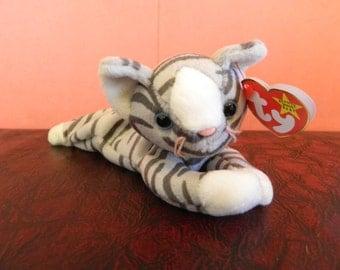 """Ty Gray Striped Cat Beanie Baby """"Prance"""" (B)"""