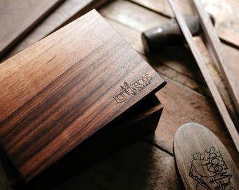 WALNUT WOOD BOX: Handcrafted Lift-Top Box (Solid Walnut Wood) - Dark Wood, Beard Box, Stash Box, Beard Care Made in Canada, Gift for Him