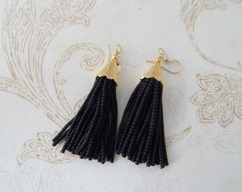 Black beaded tassel earrings, tassel earrings, mini tassels, chandelier earrings, statement jewelry, dangle earrings, black seed beads