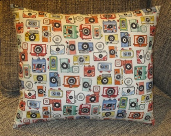 Camera Themed Pillow,  Man Cave Pillow, Vintage Camera Pillow, Photography Pillow, Novelty Pillow, Photo Shop Room, Home Accessory Pillow
