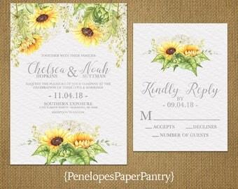 Elegant Sunflower Wedding Invitation,Sunflower,Silver Print,Pattern Background,Simple,Romantic,Custom,Printed Invitation,Wedding Set