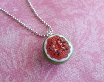 Watermelon Miniature Food Jewelry Charm Necklace Gifts for Her 4th of July Polymer Clay Watermelon