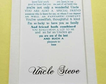 Uncle Gift, Gift for Uncle, Christmas Gift, Personalised gift for uncle, Uncle poem