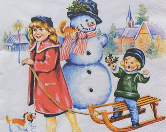Set of 2 pcs 3-ply ''Kids and the Snowman'' paper napkins for Decoupage or collectibles 33x33cm, Christmas napkins, Holiday napkins