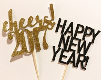 Cheers/ happy new year/ cheers 2017/ cupcake toppers