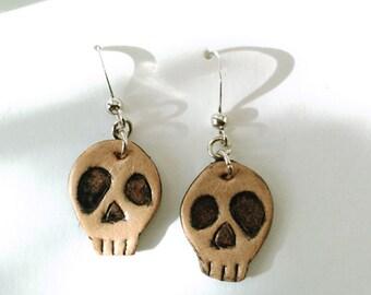 nickel-free hooks skull leather earrings