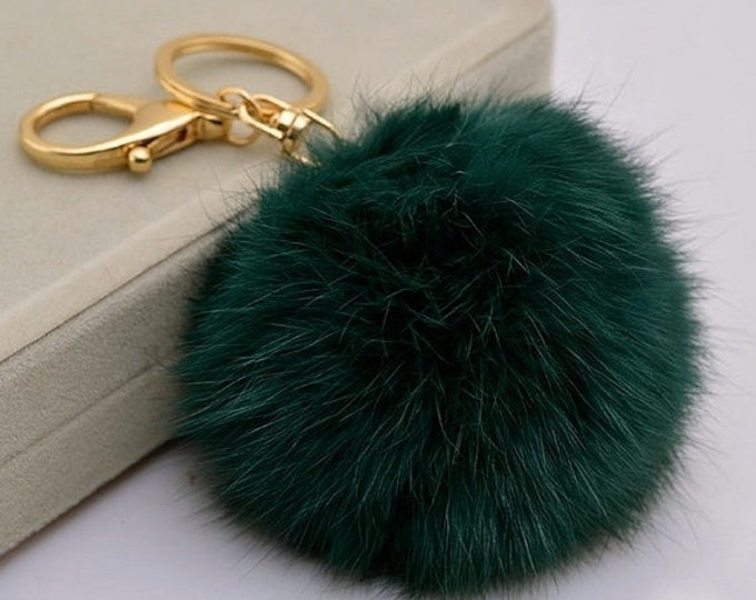 Emerald Green Fur Pom Pom Keychain ball plush pompon Bag charm Pendant