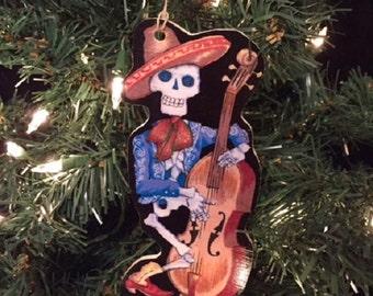 Skeleton Musician Wooden Handmade Ornament
