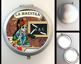 Compact Mirror Skeleton Teacher La Maestra
