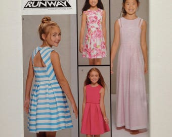 Simplicity 8307, girls dress pattern, Project Runway inspired, new uncut, sewing pattern, size B girls plus