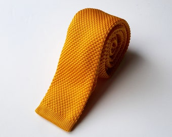 Yellowy Orange Knit Neck Tie, Men's Neck Tie
