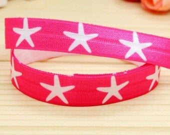 Fold Over Elastic 5/8 inch Hot Pink Starfish