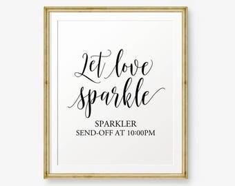 Let Love Sparkle Wedding Printable, Sparkler Sign, Gold Wedding Printable, Wedding Sign, Wedding Decor, Send Off Sign