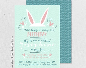 Bunny Birthday Party Invitation 2, Customized, Digital File