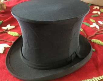 Antique Black Silk Collapsible Opera Hat, Top Hat
