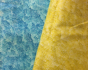 "Marimekko ""Harmaja"" cotton fabric in yellow or turquoise, sold by the half yard"