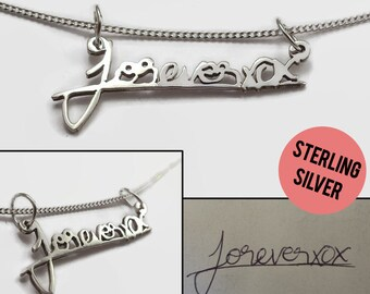 Silver Handwriting Necklace - Custom Handwriting Jewelry in Sterling Silver on Silver Necklace Chain - A romantic signature jewelry gift