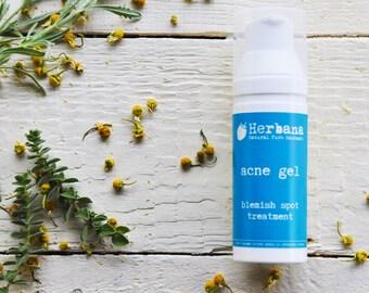 Anti-Acne Gel Treatment, Face Gel Moisturizer, Acne Serum, Oily Skin, Blemish Skin, Treatment for Pimples, Acne Remedy by HerbanaCosmetics