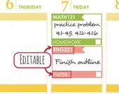 Editable student stickers (Pastels) [Printable]. School, college, homework, assignment, task, study stickers. Erin Condren planner.