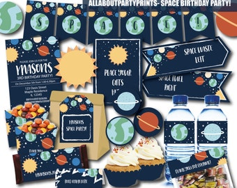 PDF format-Space Birthday party printable- for personal use only