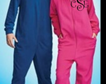 Monogrammed Adult Onesie Pajamas- Comfy and Adorable! Great Gift!!!