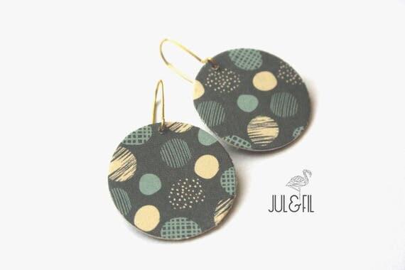 Geometric earrings, graphic, dots, Japanese paper, cardboard, grey, blue
