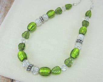 Lime Green Necklace, Lime Green Crystal Necklace, Colorful Necklace, Bright Green Jewelry, Gifts for Mom