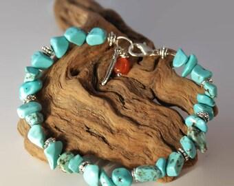 Natural turquoise bracelet, feather charm bracelet, turquoise bracelet, beaded bracelet, turquoise jewelry, boho bracelet, tribal bracelet.
