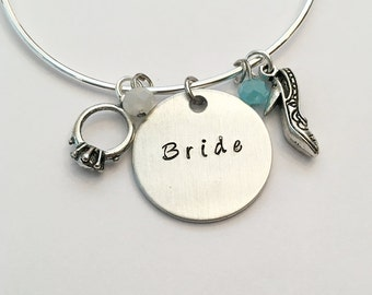 Bride Wedding Bridal Bridesmaid Maid Matron of Honor Bride Tribe Bachelorette Party Hand Stamped Adjustable Bangle Charm Bracelet
