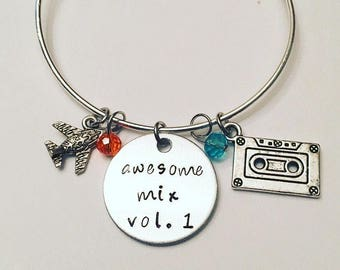 Awesome Mix Volume 1 Star Lord Peter Quill Chris Pratt Guardians of the Galaxy Rocket Raccoon Groot Gamora Adjustable Bangle Charm Bracelet