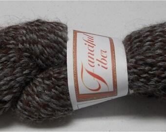 Handspun 100%  Llama Yarn 2 Ply  Dark Brown/Gray Tweed (E)