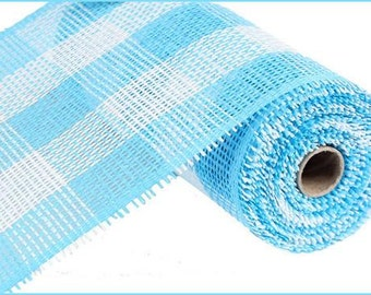 "10""X10yd  Blue/White Woven Check Paper Mesh/Wreath Supplies/Paper Mesh/RR800242"
