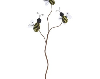 "Raz Imports 18"" BEE SPRAY PICK/Wreath Supplies/Bumble Bee Pick/Spring-Summer Decor/F3706645"