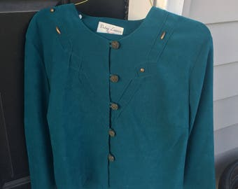 Vintage Teal Gold Button Up Top