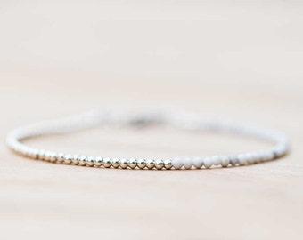 Ultra Delicate White Howlite Bracelet, Sterling Silver or Rose Gold Filled, White Gemstone Skinny Stacking Bracelet, White Howlite Jewelry